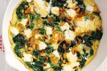 Spinach, feta & pine nut omelette