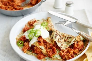 Chorizo and pulled pork pancakes