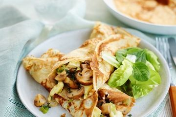 Garlic mushroom and brie pancakes
