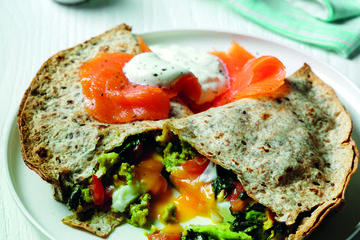 Avocado and egg quesadilla with salmon