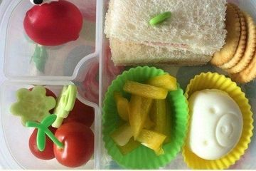 Moulded eggs for a bento picnic