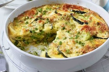 Courgette, pea and pesto frittata