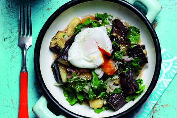 Egg-topped smokey aubergine salad
