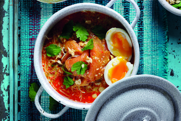 Smoked Salmon Laksa with soft boiled egg