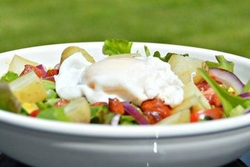 Warm egg and chorizo salad