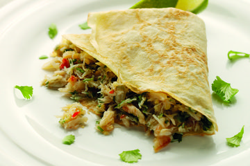 Crêpes with crab and herbs