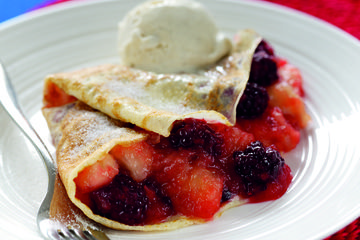 Blackberry and Bramley apple pancakes