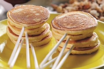 Orange lollypop pancakes