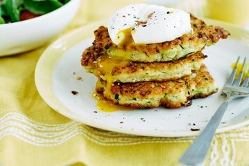 courgette fritters and poached egg