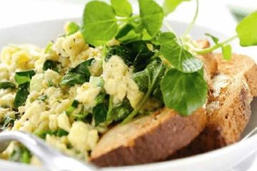Scrambled eggs with watercress