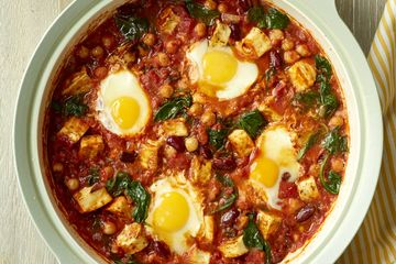 The Chiappas' halloumi, bean and egg hot pot