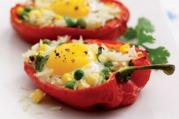 Baked rice-stuffed peppers