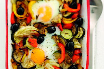 Low calorie baked eggs with roasted Mediterranean vegetables