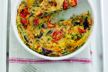 Low calorie cherry tomato and parmesan frittata