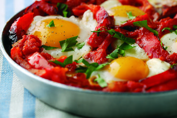 Low calorie huevos rancheros in a hurry