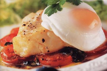 Poached egg and cod