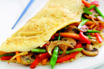 Stir-fried vegetable omelette