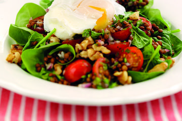 Warm lentil and egg salad