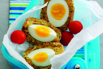 Spicy potato Scotch eggs