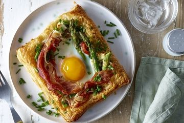 Puff pastry baked egg and pesto parcels