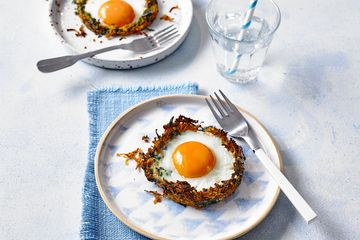 sweet potato and spinach nests