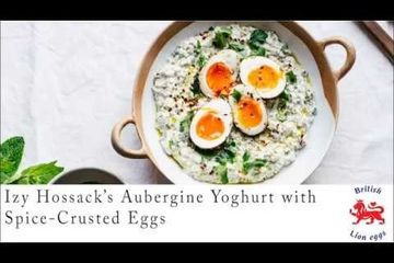 Embedded thumbnail for Izy Hossack's aubergine yoghurt with spice-crusted eggs